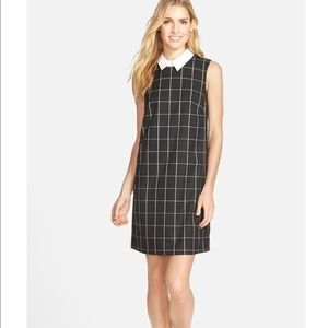 Halogen Check Shift Dress With Removable Collar